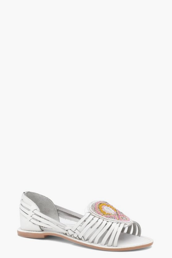 Zoe Embellished Peeptoe Woven Leather Flats