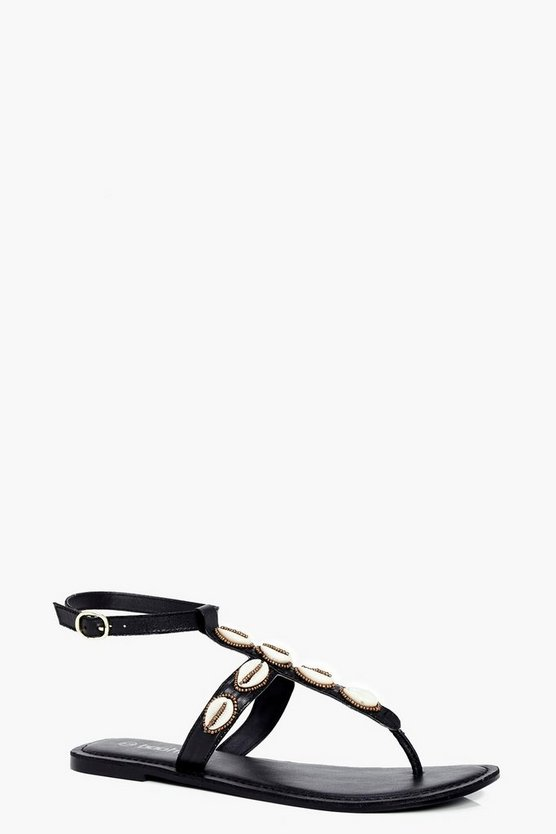 Eloise Shell Trim Leather Thong Sandals