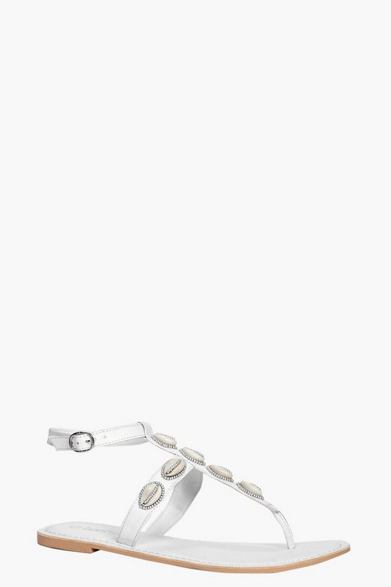 Eloise Shell Trim Leather Thong Sandal
