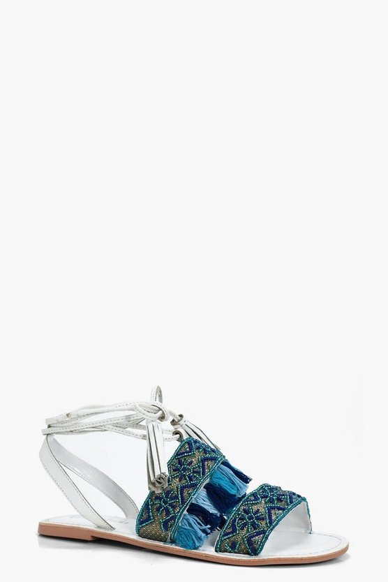 Orla Embroidered Wrap Strap Leather Sandals