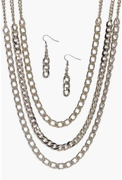 Diana Triple Layer 80's Chain & Earring Set