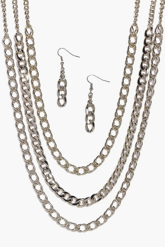 Diana Triple Layer Chain & Earring Set