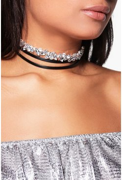 Tegan Diamante & PU Wrap Around Choker