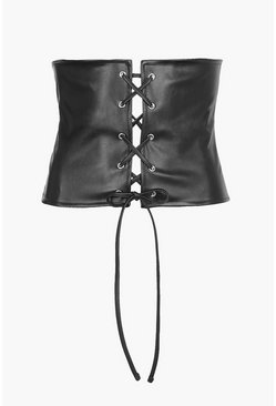Nadia Leather Look Lace Up Corset Belt