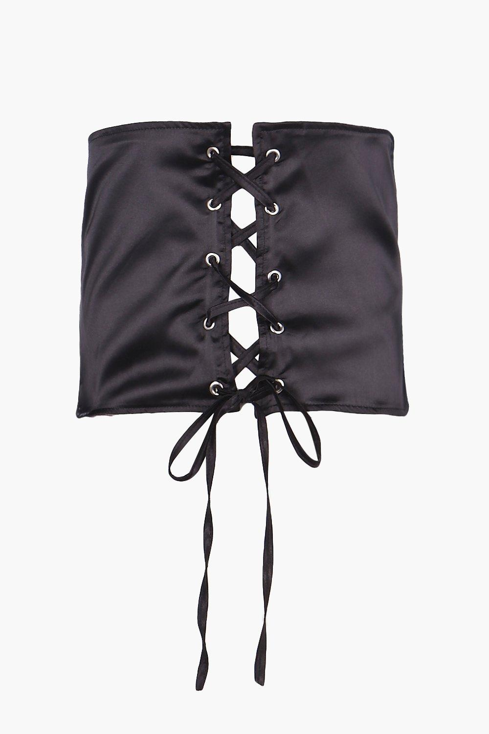 Satin Lace Up Corset Belt - black - Kitty Satin La