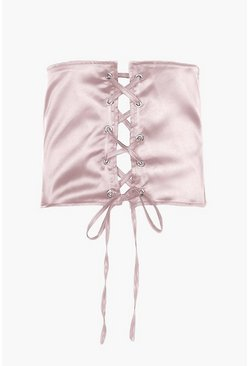 Kitty Satin Lace Up Corset Belt