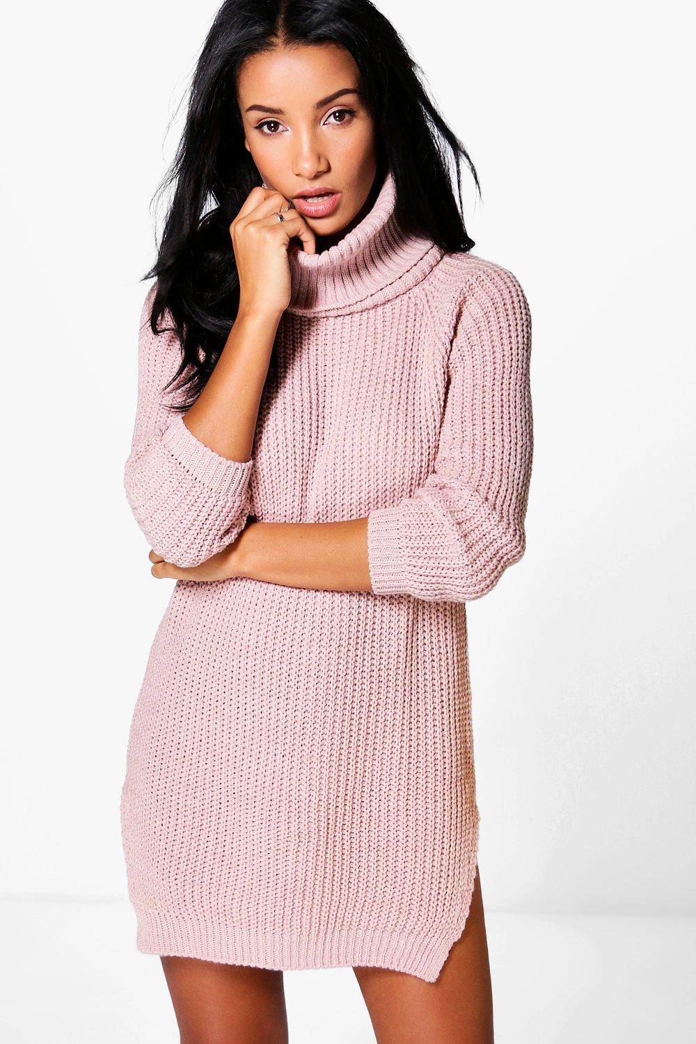 Roll Neck Soft Knit Jumper Dress  blush