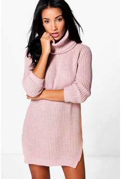 Ava Roll Neck Soft Knit Jumper Dress
