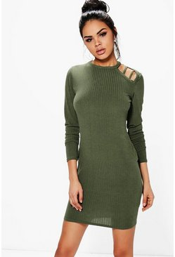 Jasmine Strappy Cold Shoulder Rib Knit Dress