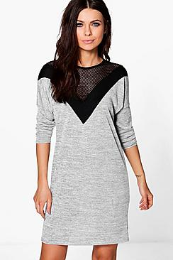 Bethany Mesh Detail Fine Knit Dress