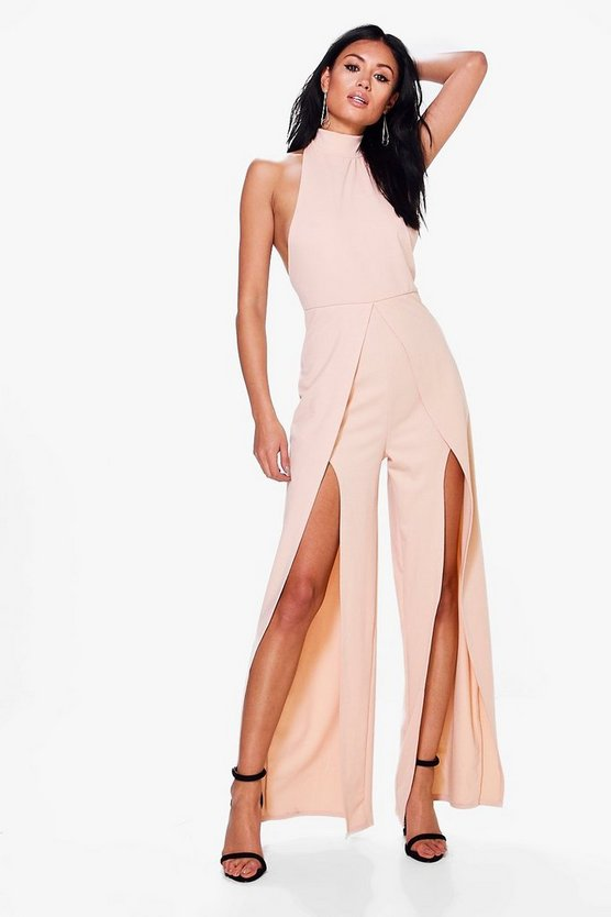 Lola High Neck Split Leg Jumpsuit