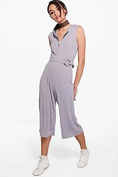 Sofia Zip Front Hooded Ribbed Jumpsuit
