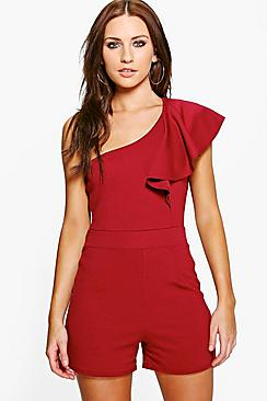 Aisah One Shoulder Frill Playsuit