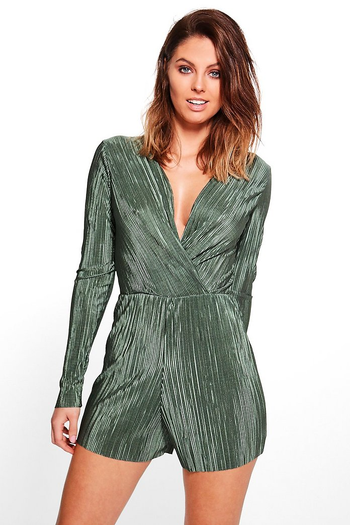 Julie Crinkle Wrap Front Playsuit