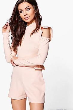 Tara Open Shoulder Ruffle Sleeve Playsuit