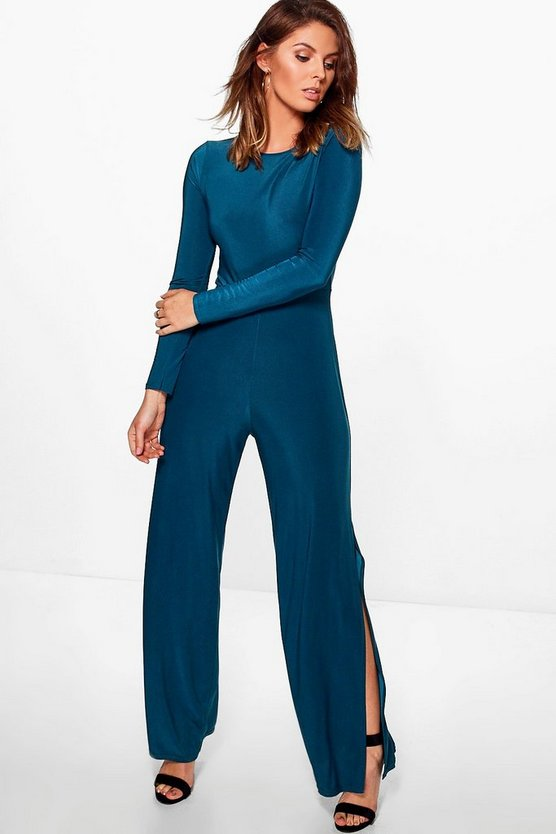 Saira Slinky Long Sleeve Split Wide Leg Jumpsuit
