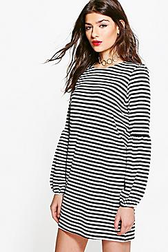 Tabbie Flute Sleeve Stripe Shift Dress