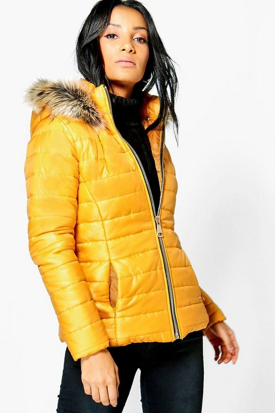 Sarah Faux Fur Hood Quilted Jacket