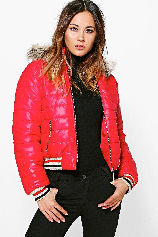 Crop Faux Fur Hood Bubble Coat  red