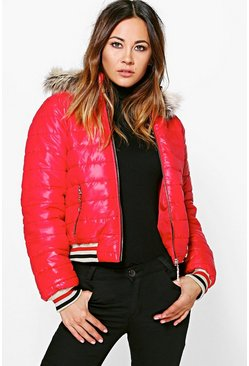 Eve Crop Faux Fur Hood Bubble Coat