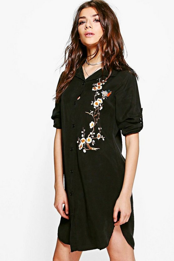 Pamela Embroidered Shirt Dress