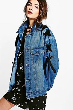 Cara Vintage Wash Lace Up Denim Jacket
