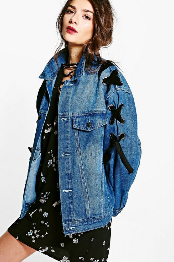 Vintage Wash Lace Up Denim Jacket