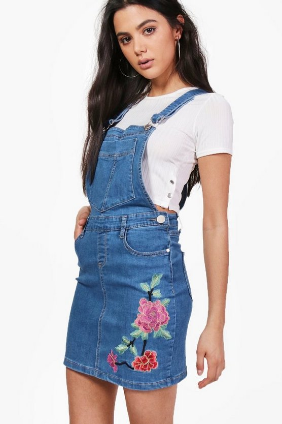 Shana Flower Embroidered Denim Pinafore Dress