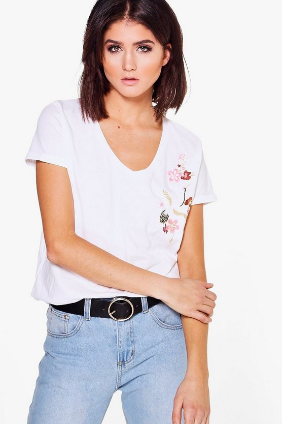 Tia V Neck Embroidered Tee
