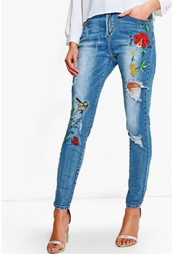 Jenny Mid Rise Embroidered Skinny Jeans