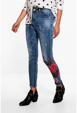 Ellie Mid Rise Floral Embroidered Skinny Jeans