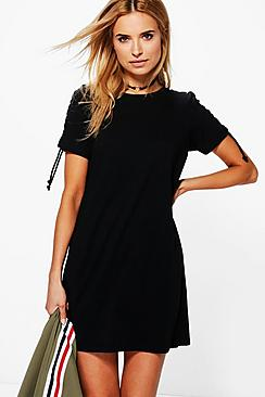 Ciara Lace Up Shoulder T-Shirt Dress