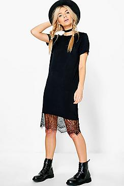 Celestia Crew Neck Lace Hem Dress