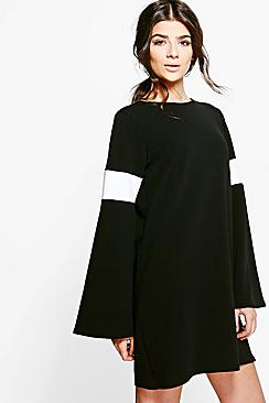 Aaliyah Mono Flute Sleeve Shift Dress
