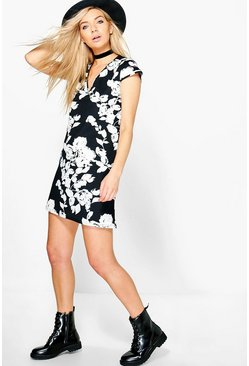 Josephine Mono Print Shift Dress