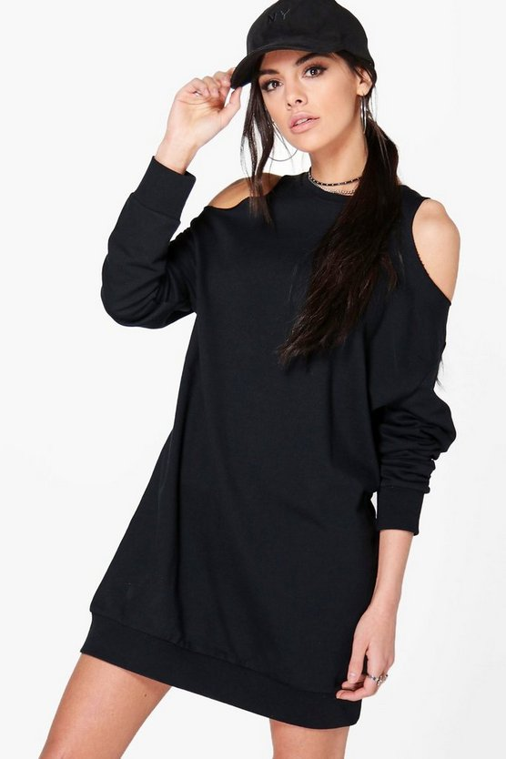 Alice Cold Shoulder Distressed Sweat Dress