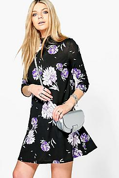 Fiona Floral High Neck Swing Dress