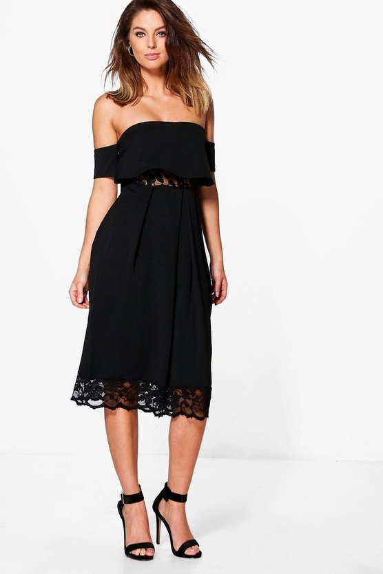 Dea Off Shoulder Lace Insert Midi Skater Dress