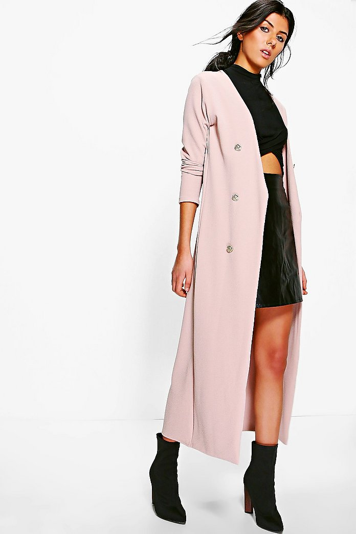 Eva Button Front Longline Duster Jacket