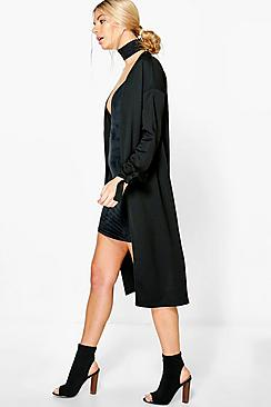 Zoe Tie Cuff Collarless Duster