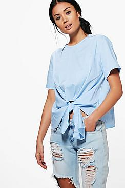 Kayla Knot Tie Front Short Sleeve Woven Shirt