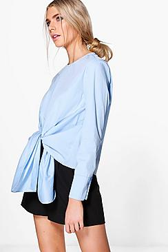 Lydia Knot Front Long Sleeve Woven Shirt