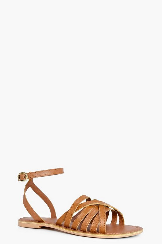 Megan Cross Wrap Strap Leather Sandal