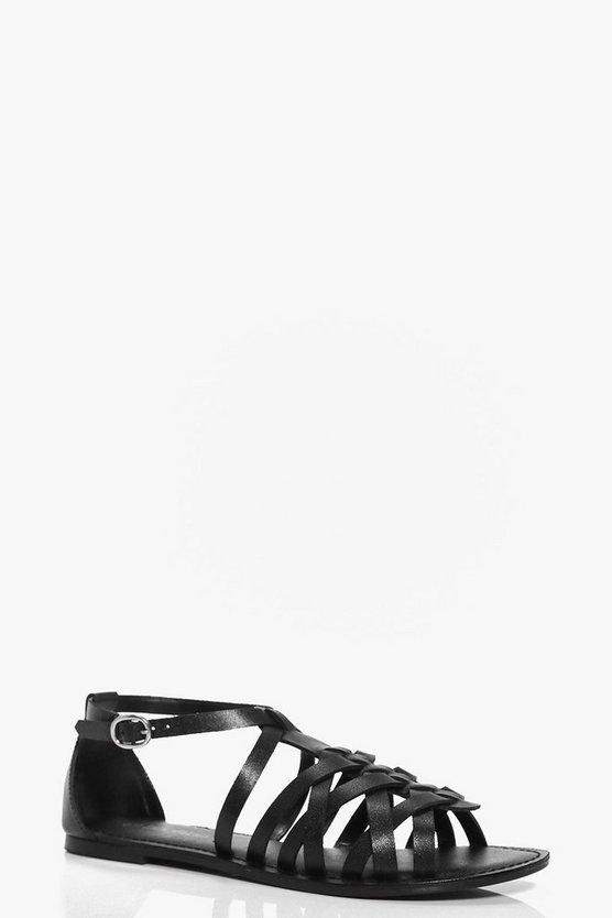 Florence Leather Woven Gladiator Flat Sandals