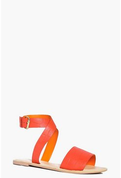 Ella Embossed Leather Cross Ankle Strap Sandal