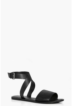 Lilly Cross Ankle Strap Leather Sandal