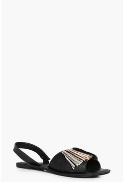 Tia Two Part Leather Peeptoe Tassel Trim Sandal