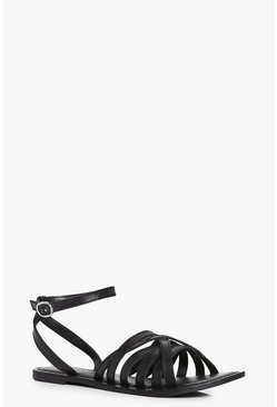 Tia Cross Wrap Strap Leather Sandal
