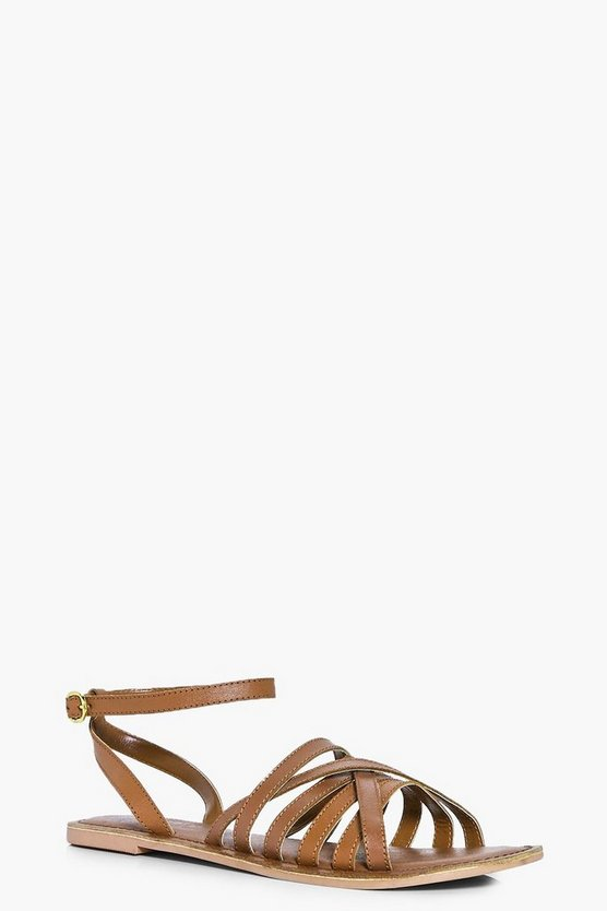 Tia Cross Wrap Strap Leather Sandals