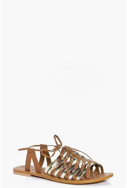 Ivy Leather Woven Peeptoe Wrap Strap Sandal